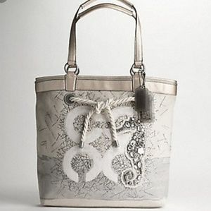 Coach Audrey Seahorse Leigh Canvas Nautical Tote-